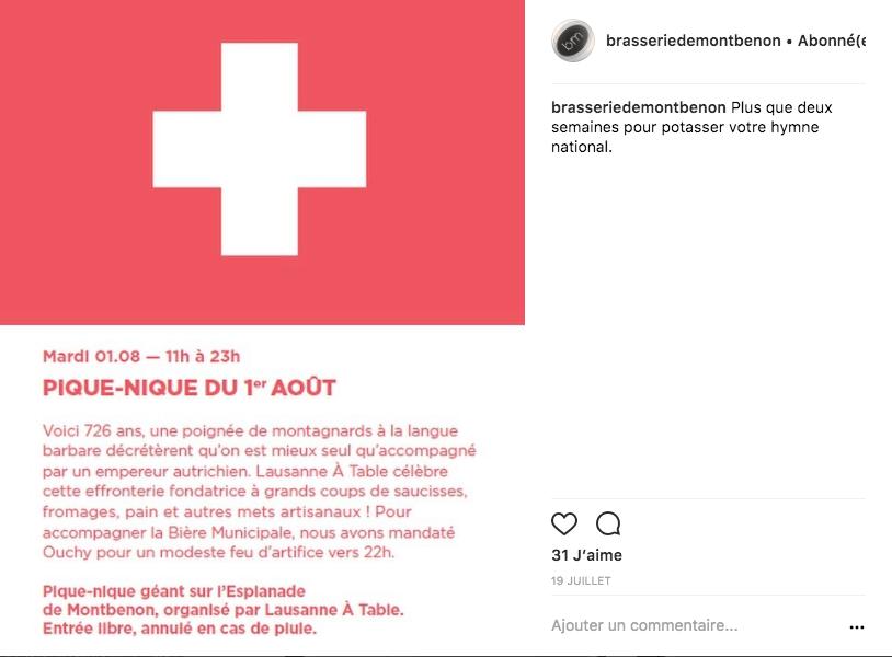 L'annonce de la fête du 1er août sur Instagram